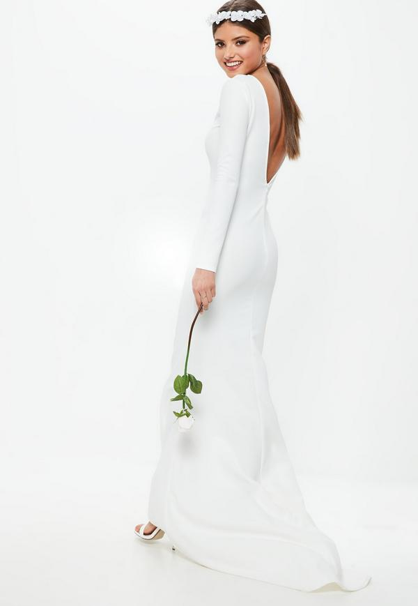 form fitting long sleeve wedding dress under 100