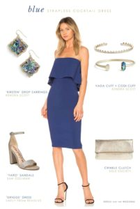 Navy blue strapless dress for wedding guest