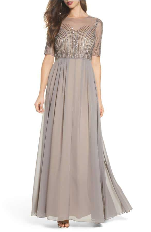 taupe sequin dress for a wedding