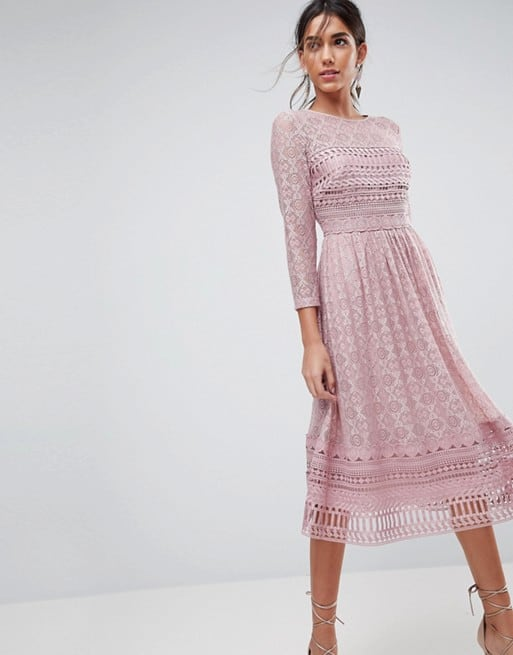 fa3dca983a9 Featured dress  Lace Midi Dress with Sleeves