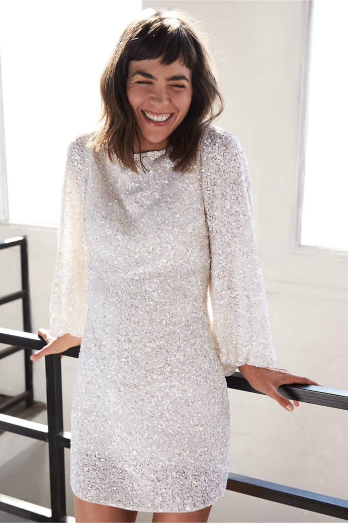 white sequin dress with long sleeves