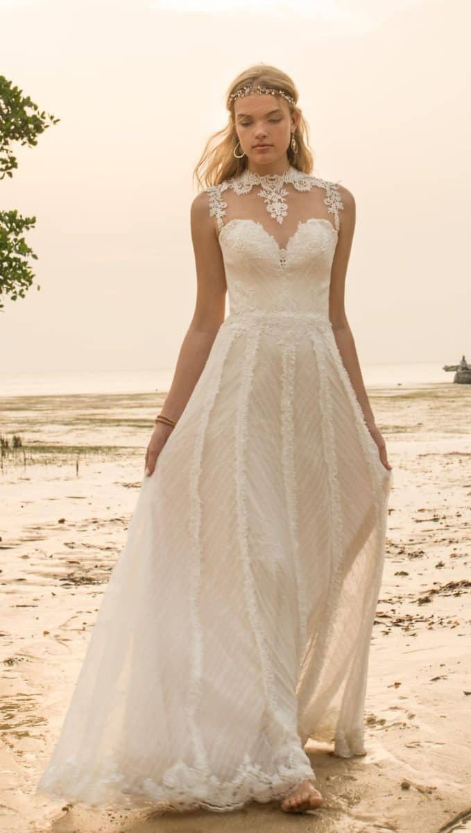 illusion lace wedding dress bhldn nightfall gown