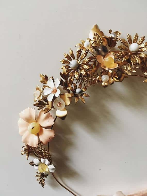 brass flower crown