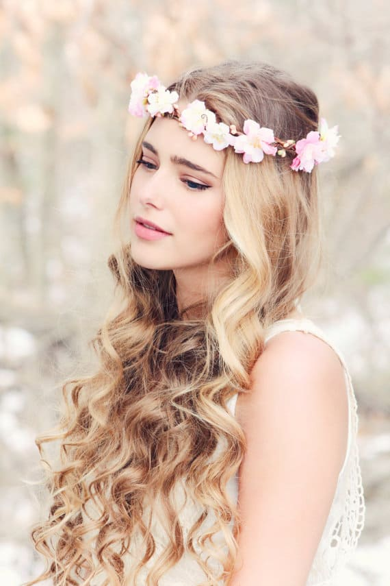 cherry blossom flower crown for a wedding sakura wedding theme