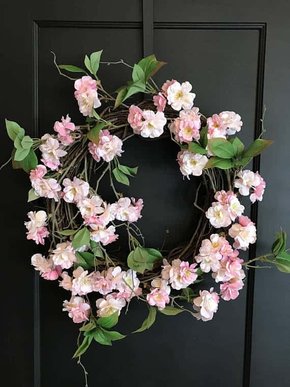 cherry blossom wreath wedding decor