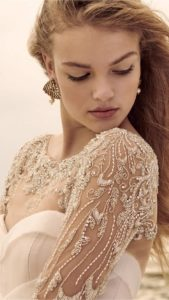 embellished bridal tucker long sleeve topper