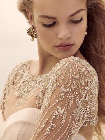 embellished bridal tucker long sleeve topper