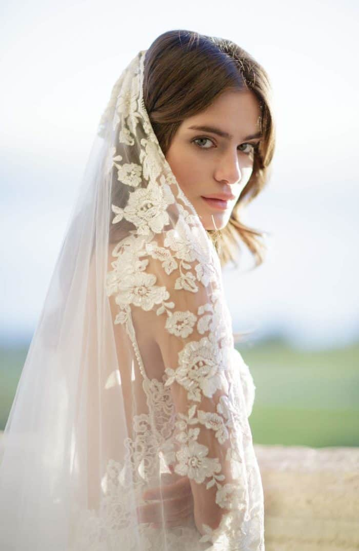 floral lace cathedral veil for wedding