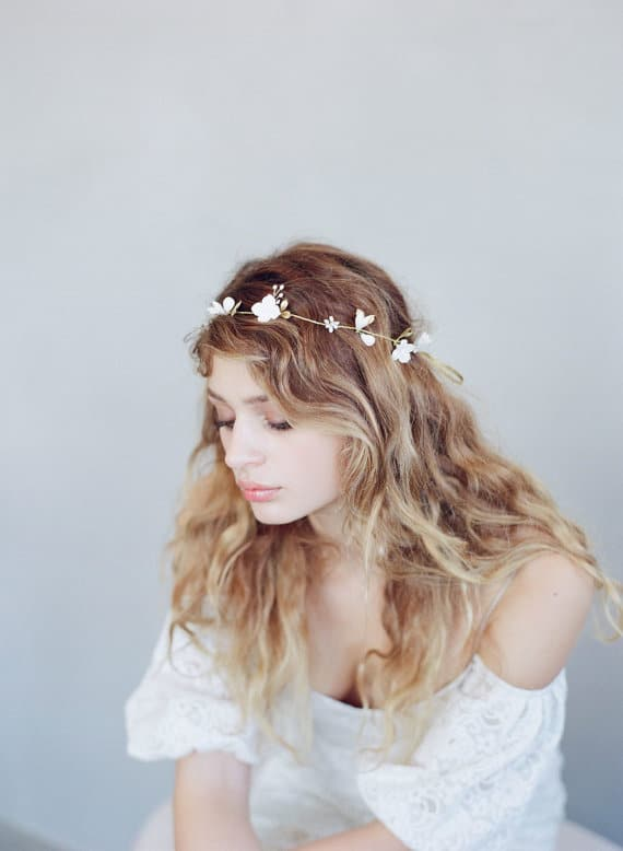 floral wedding headpiece by twigs and honey
