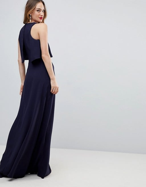 formal navy blue wedding guest dress less than 100 dollars