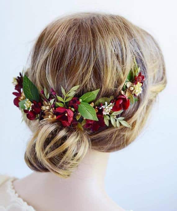 handmade fall floral crown for a bride