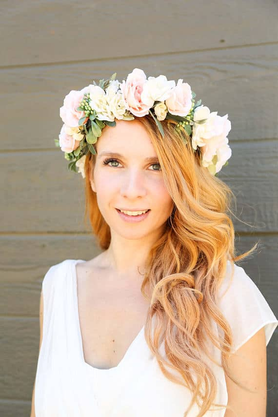 ivory and peach flower crown
