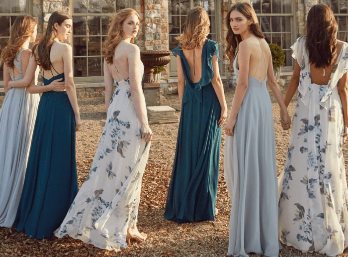 blue and floral bridesmaid dresses