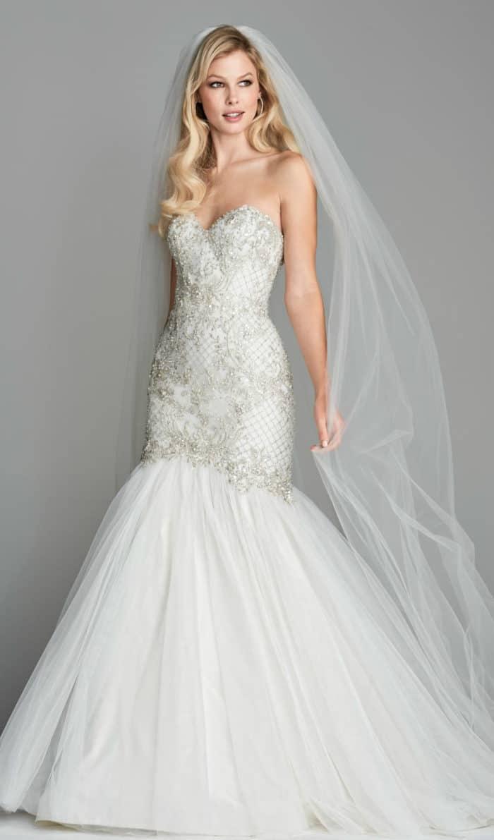 Mermaid embellished wedding dress Lindell Wtoo
