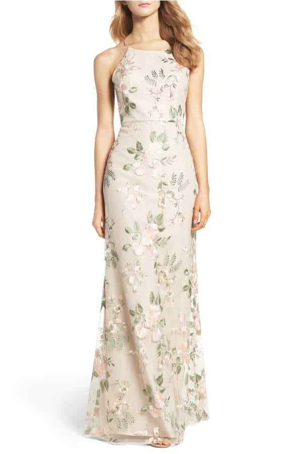 neutral blush and green floral bridesmaid dress