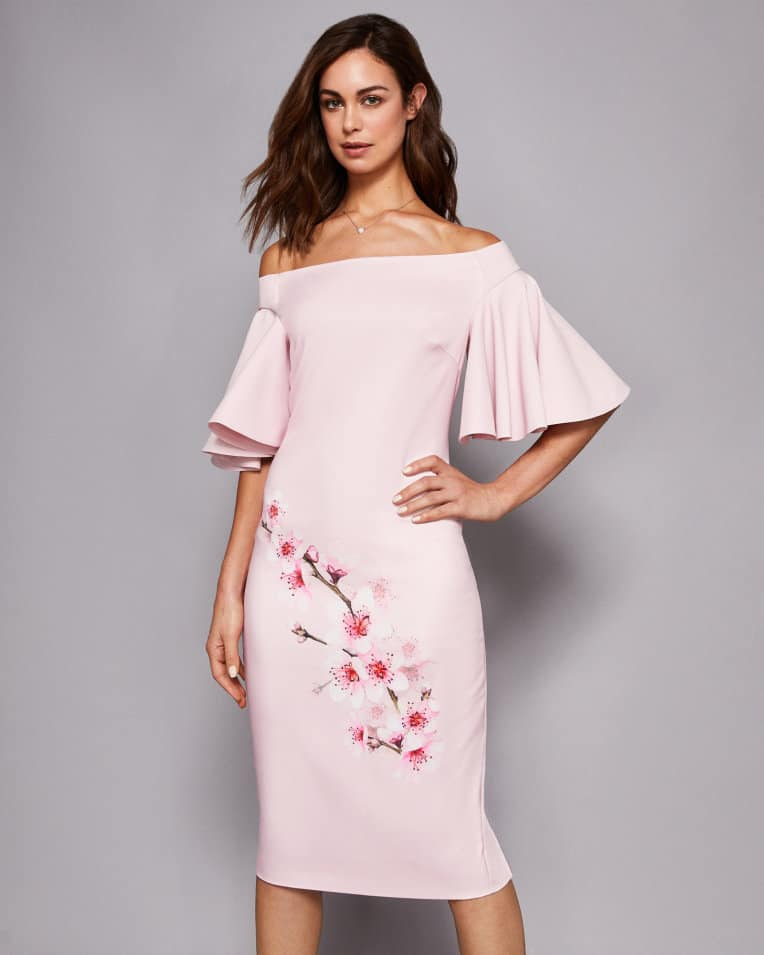 off the shoulder pink dress with cherry blossoms by ted baker