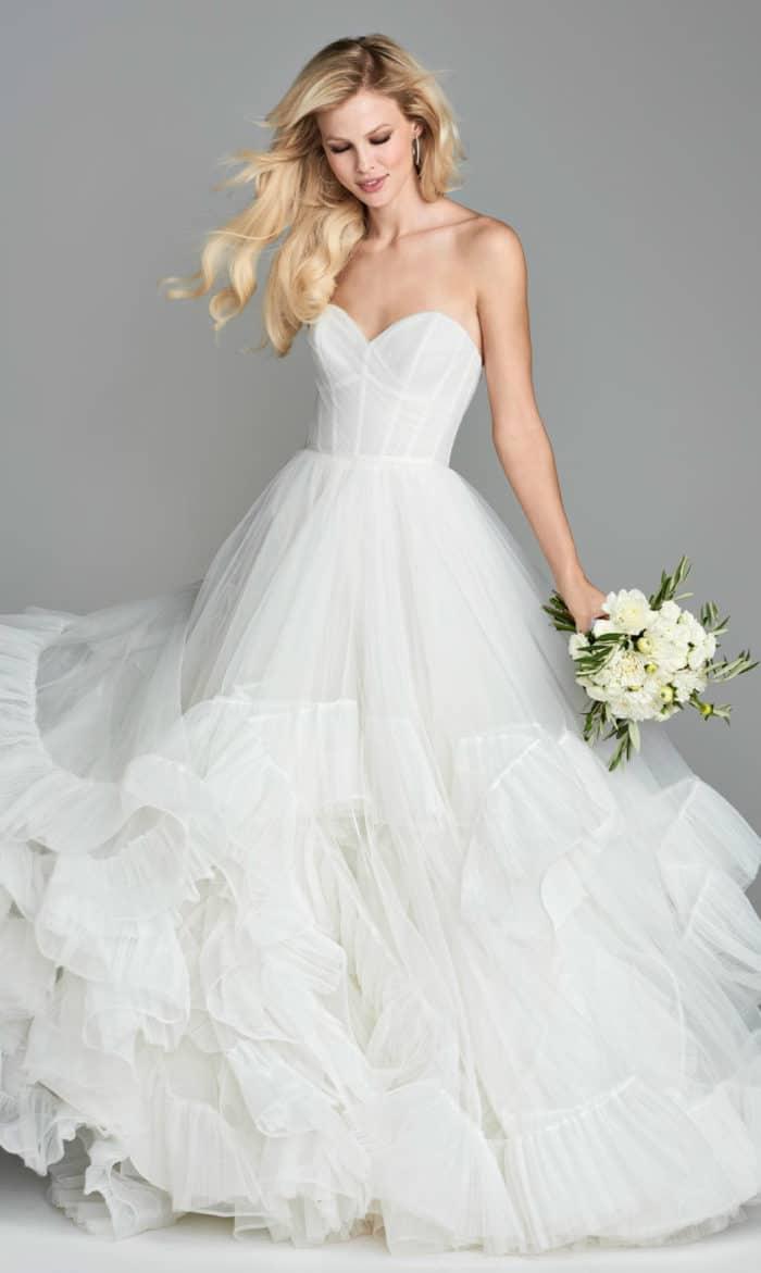 Tiered ruffled ballgown wedding dress