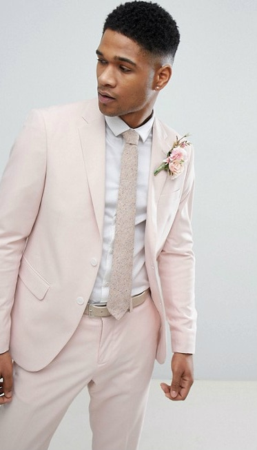 Blush pink mens suit for a wedding