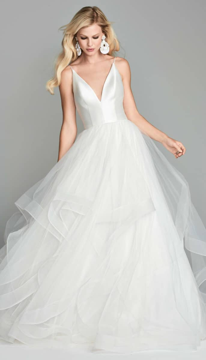 Tiered tulle ballgown wedding dress