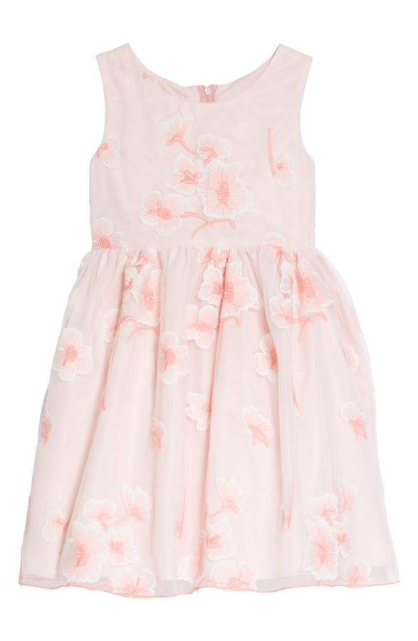 pink floral cherry blossom flower girl dress