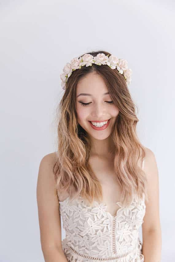 pink rose flower crown