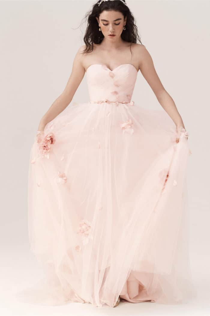 pink wedding dress with blossoms eloise ballgown wedding dress bhldn