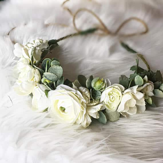ranunculus white flower crown