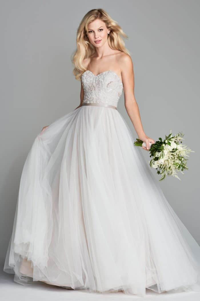 Wedding dress with sheer tulle skirt