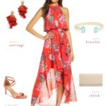 red dress and outfit that is appropriate for a wedding guest