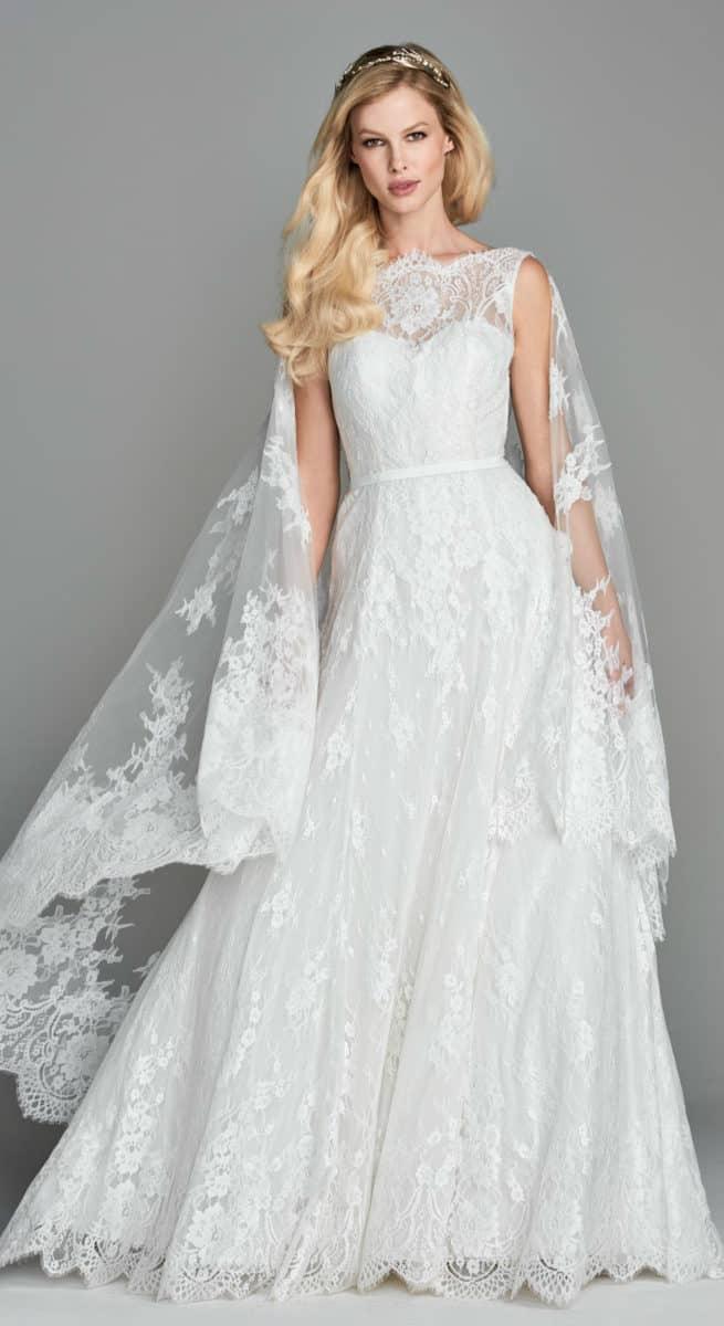 Lace cape wedding dress Ilona by Wtoo