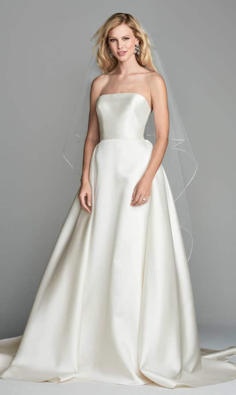 Strapless silk callgown wedding dress Atlee Wtoo