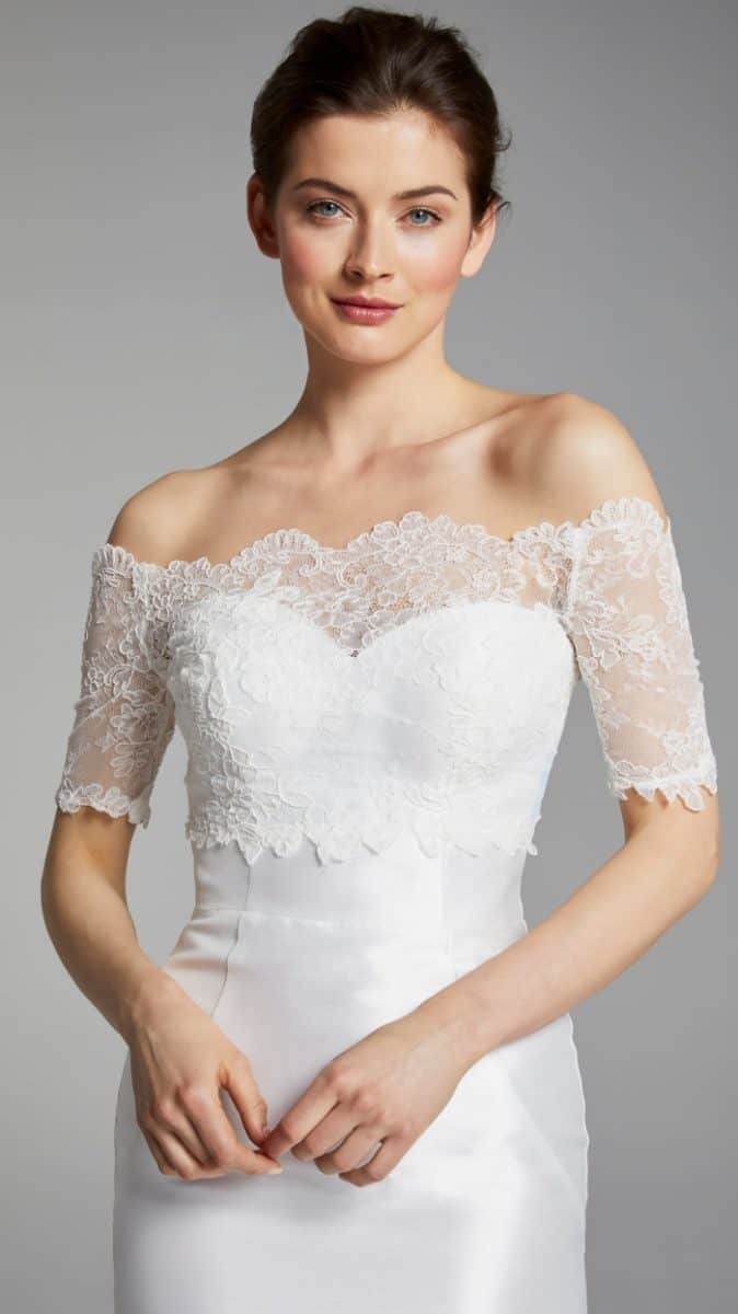 Lace off the shoulder top Anita Anne Barge Blue Willow Wedding Dresses