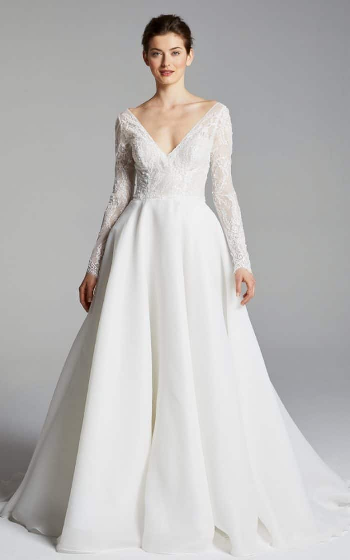 long sleeve v neck wedding dress Chrissy from Blue Willow by Anne Barge