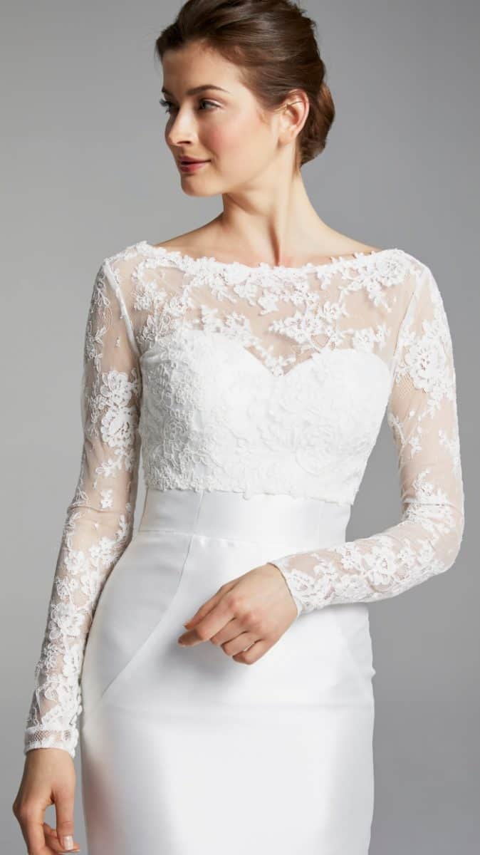 Long sleeve tailored wedding dress Lynda Blue Willow