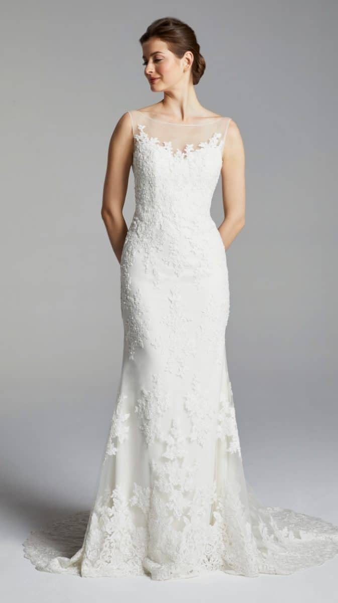 Illusion neckline and hem wedding dress Mirren Blue Willow