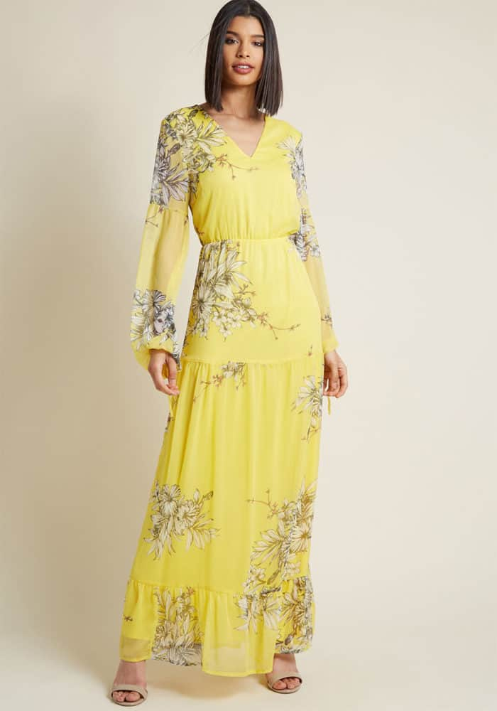 ellow maxi dress for spring wedding guest