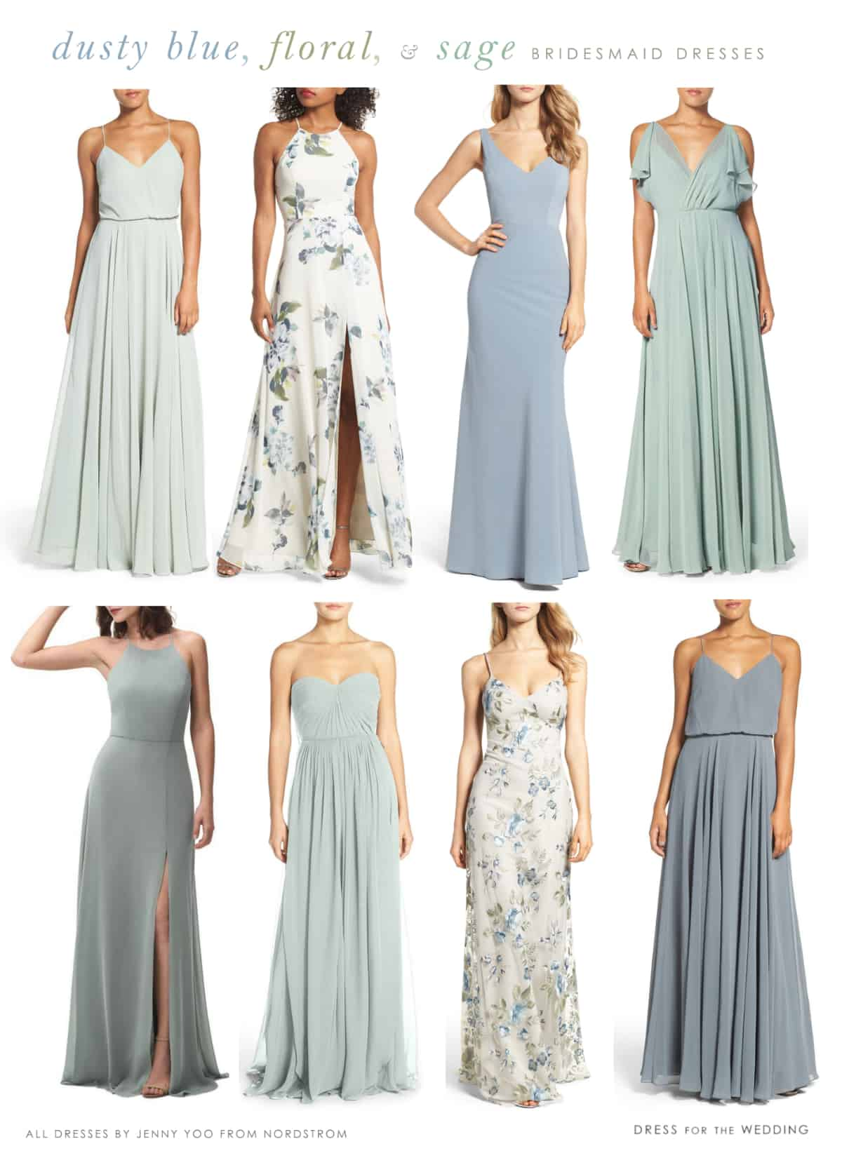 Blue floral and mist sage green mismatched bridesmaid dresses by Jenny Yoo
