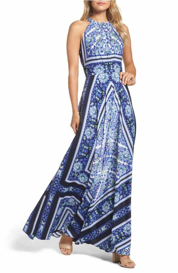 blue scarf print dress for a beach wedding