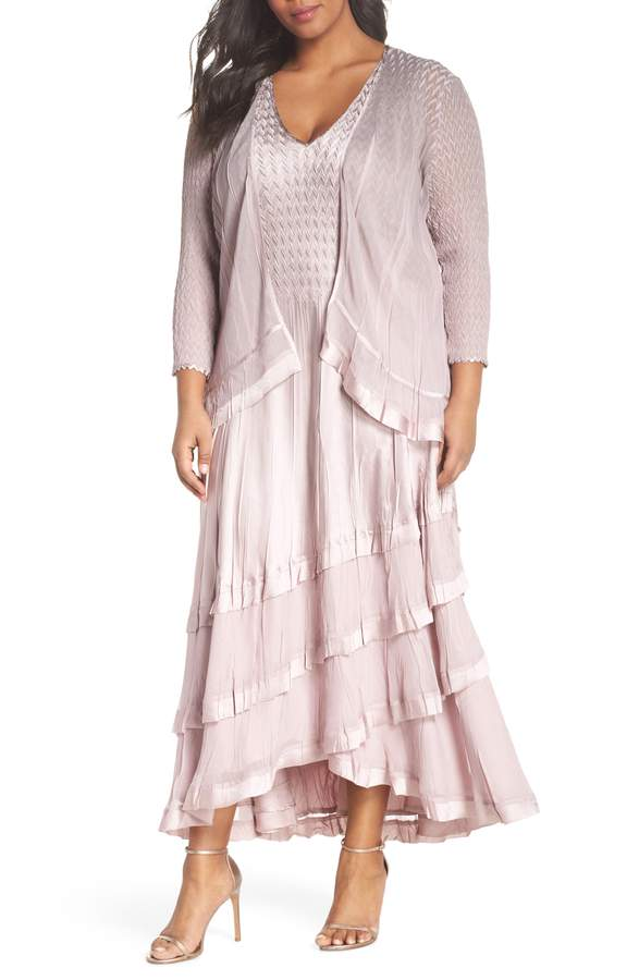 pink komarov mother of the bride dress with a jacket