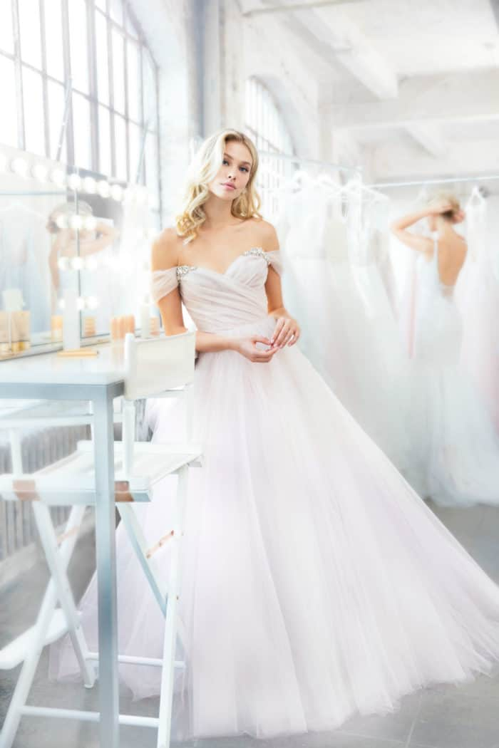 blush off the shoulder bridal gown Milo Blush by Hayley paige