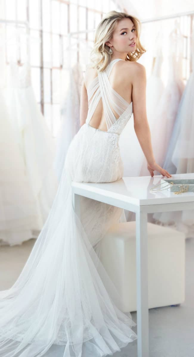 Ivory net wedding dress with criss cross straps Dawson by Blush by Hayley Paige