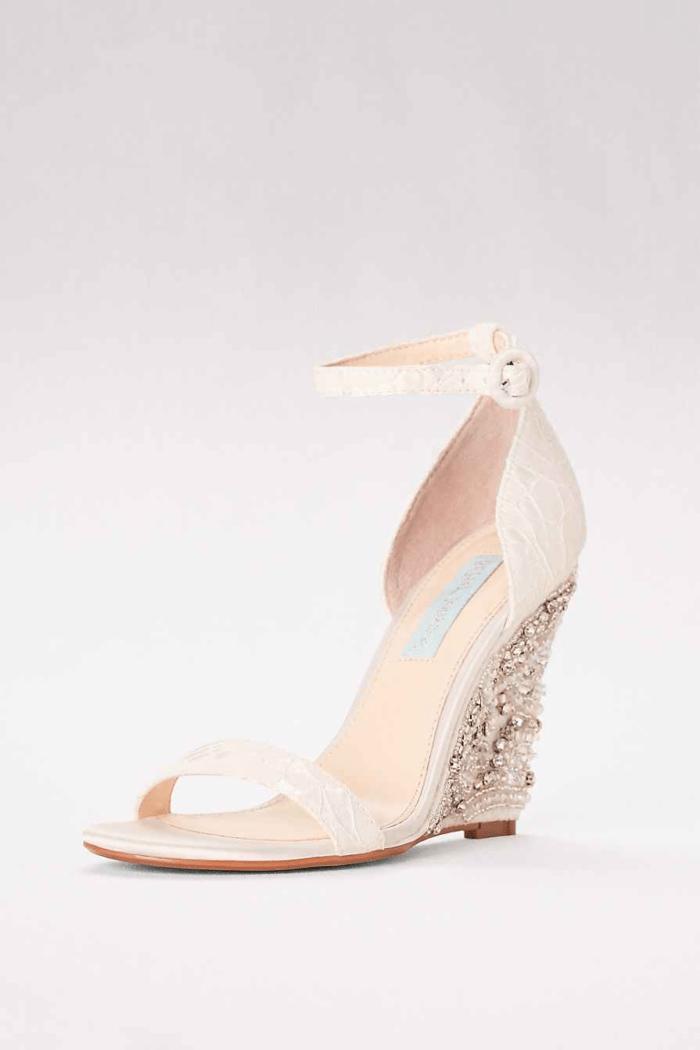 embellished wedge high heel wedding shoes