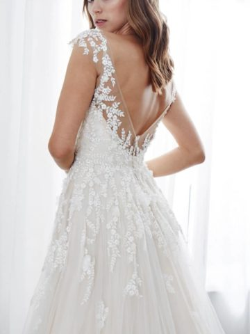 blush embroidered tulle wedding dress 2019 kelly faetanini