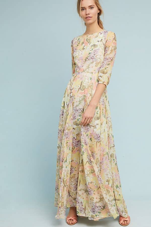 floral print maxi dress with long sleeves