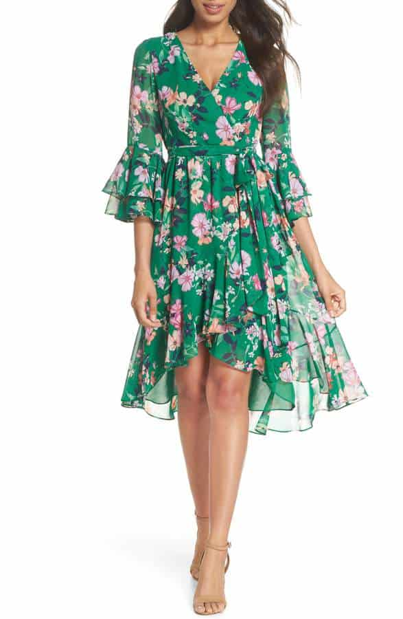 cute green floral dress with long sleeves spring wedding guest