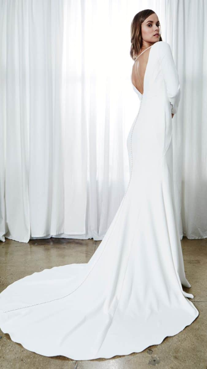 jade long sleeve modern wedding dress with deep back