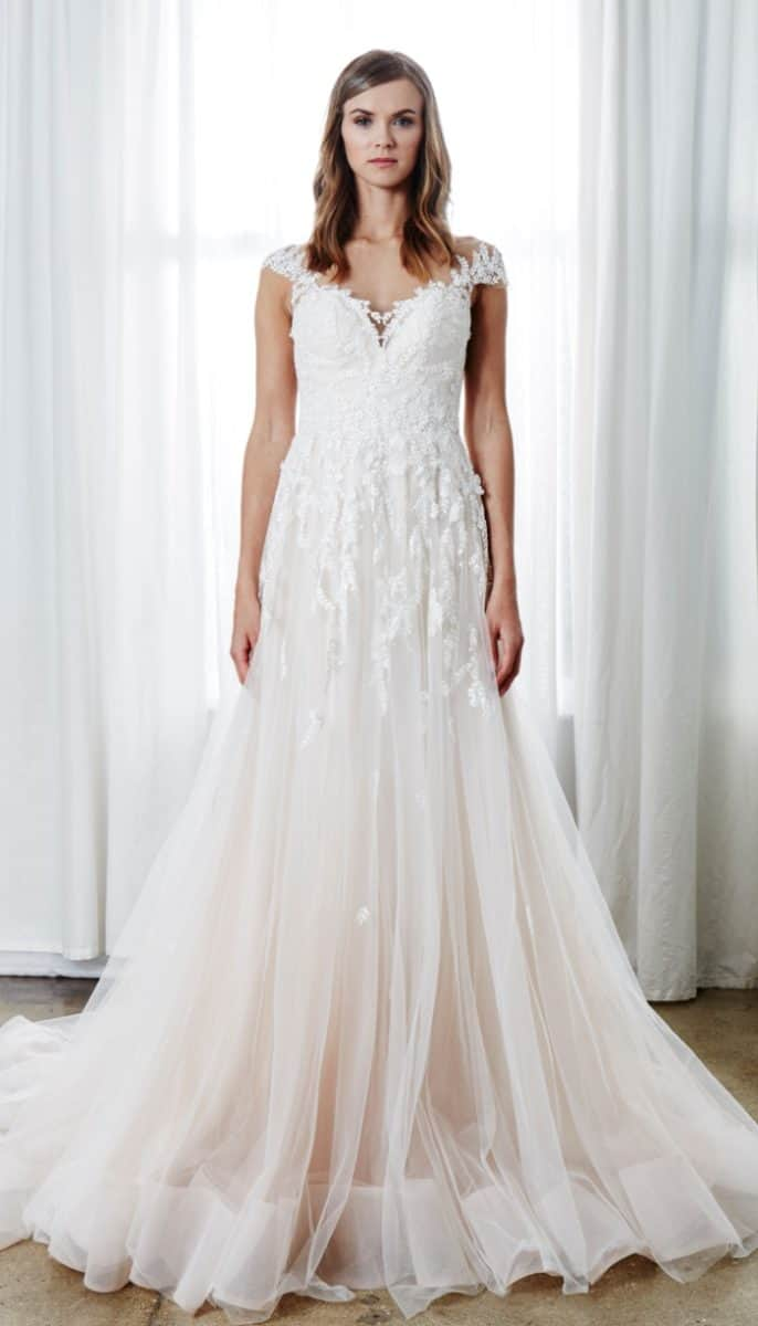 embroidered blush bridal gown aubrey