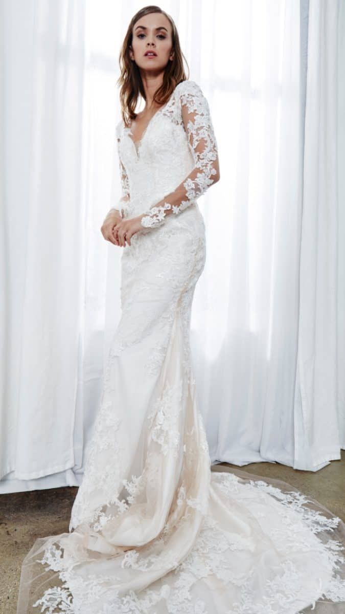 elisa a long sleeve lace wedding dress with sheer sleeves