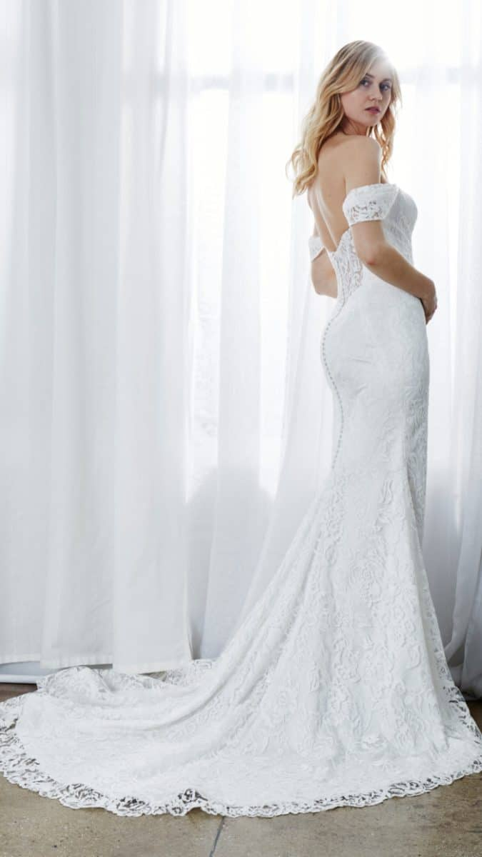 off the shoulder lace back wedding gown