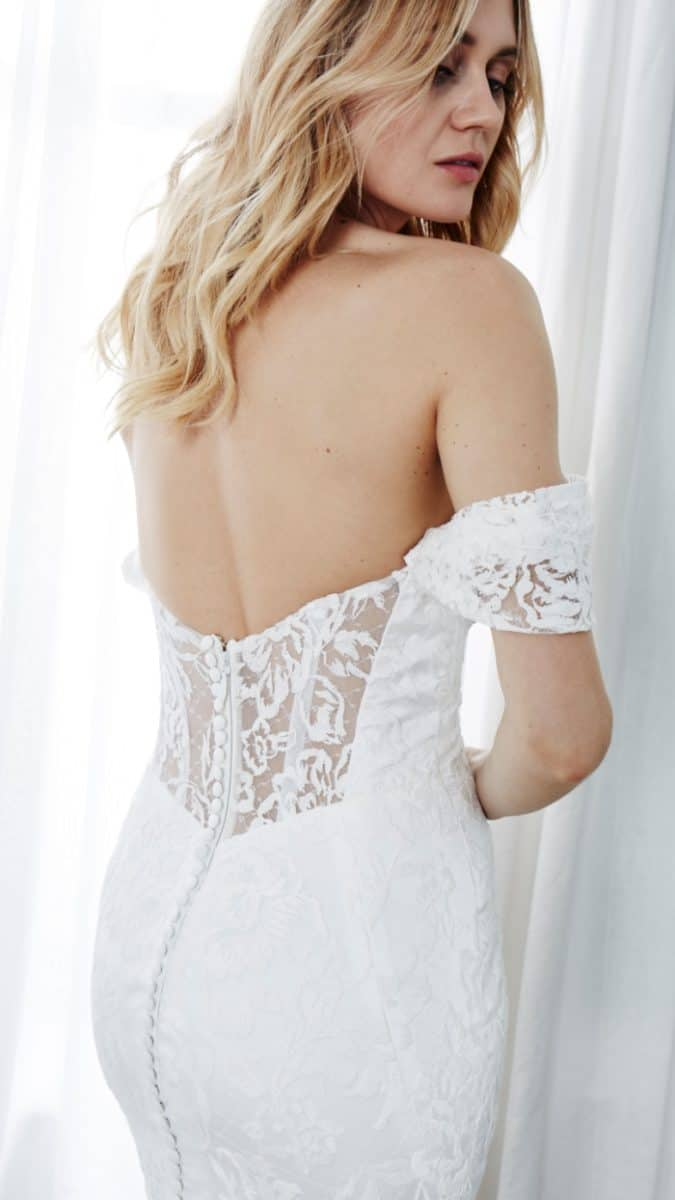 statement back off the shoulder wedding dress eva kelly faetanini